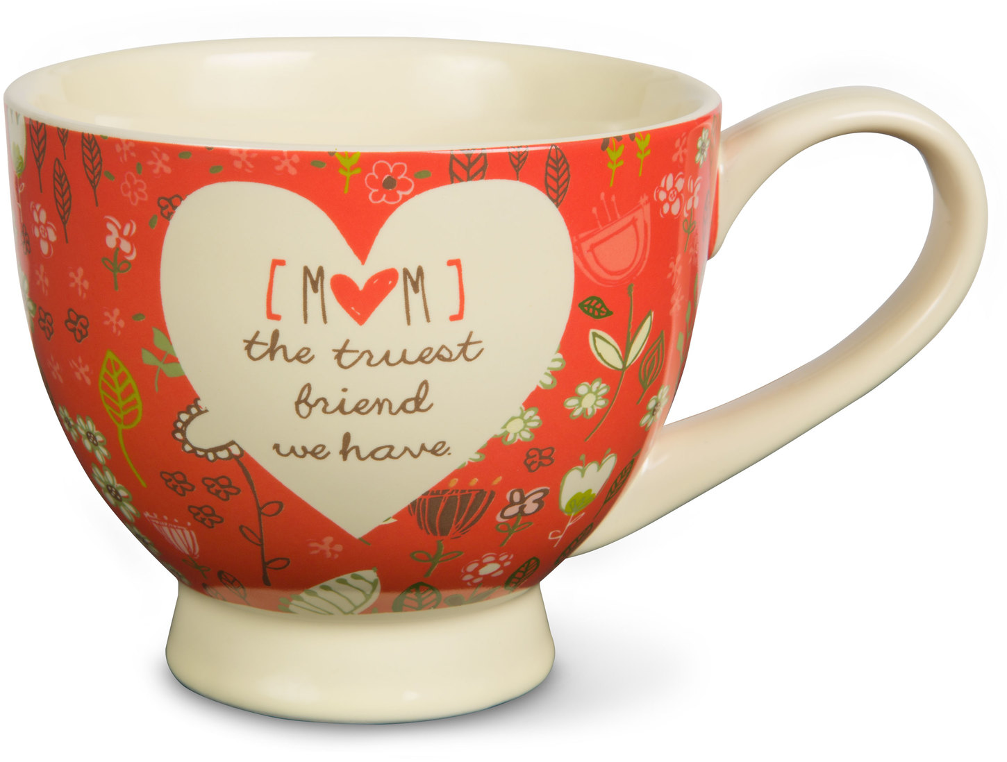 A Mother's Love Mom: The Truest Friend We Have Red Floral Soup Bowl Mug 17 oz by Pavilion Gift Company