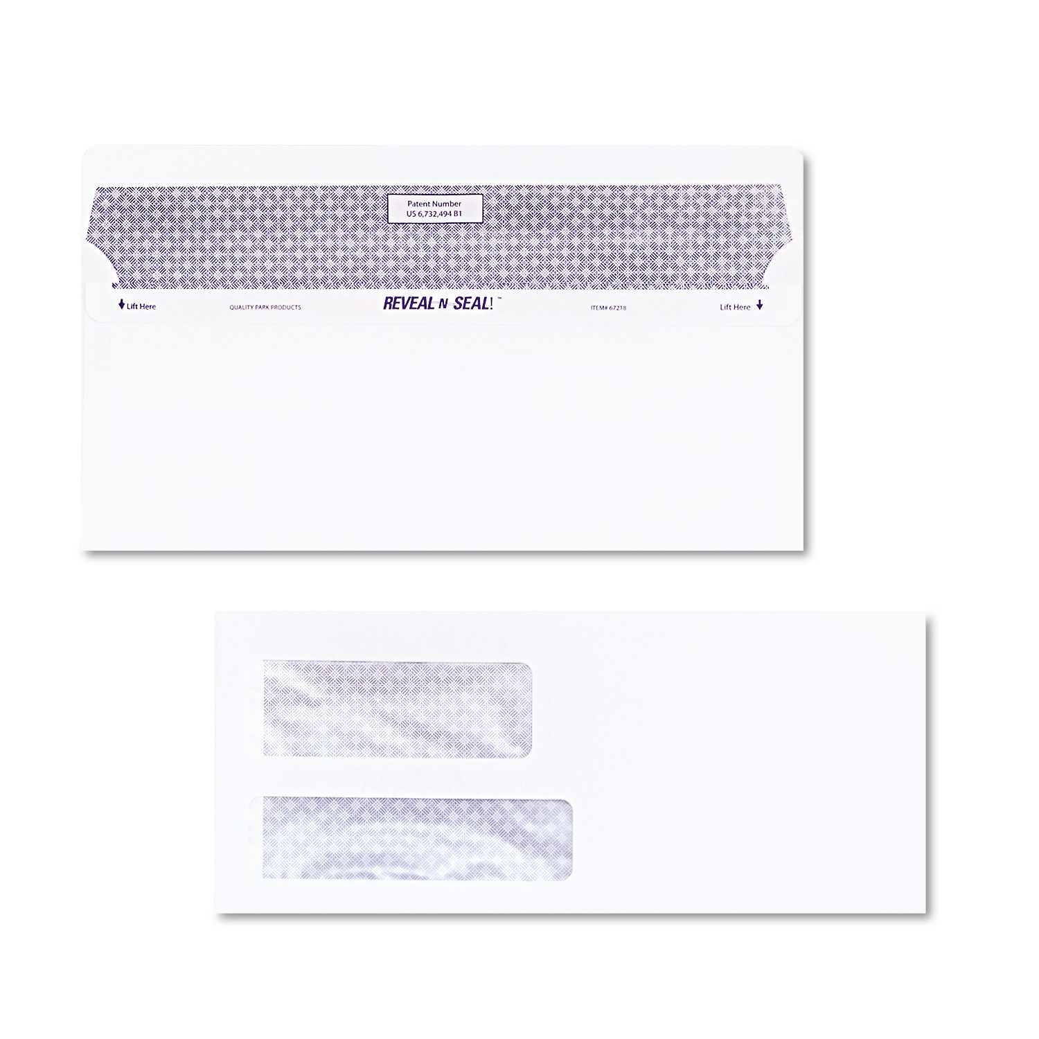 Quality Park Reveal N Seal Double Window Invoice Envelope, Self Adhesive, White, 500/Box