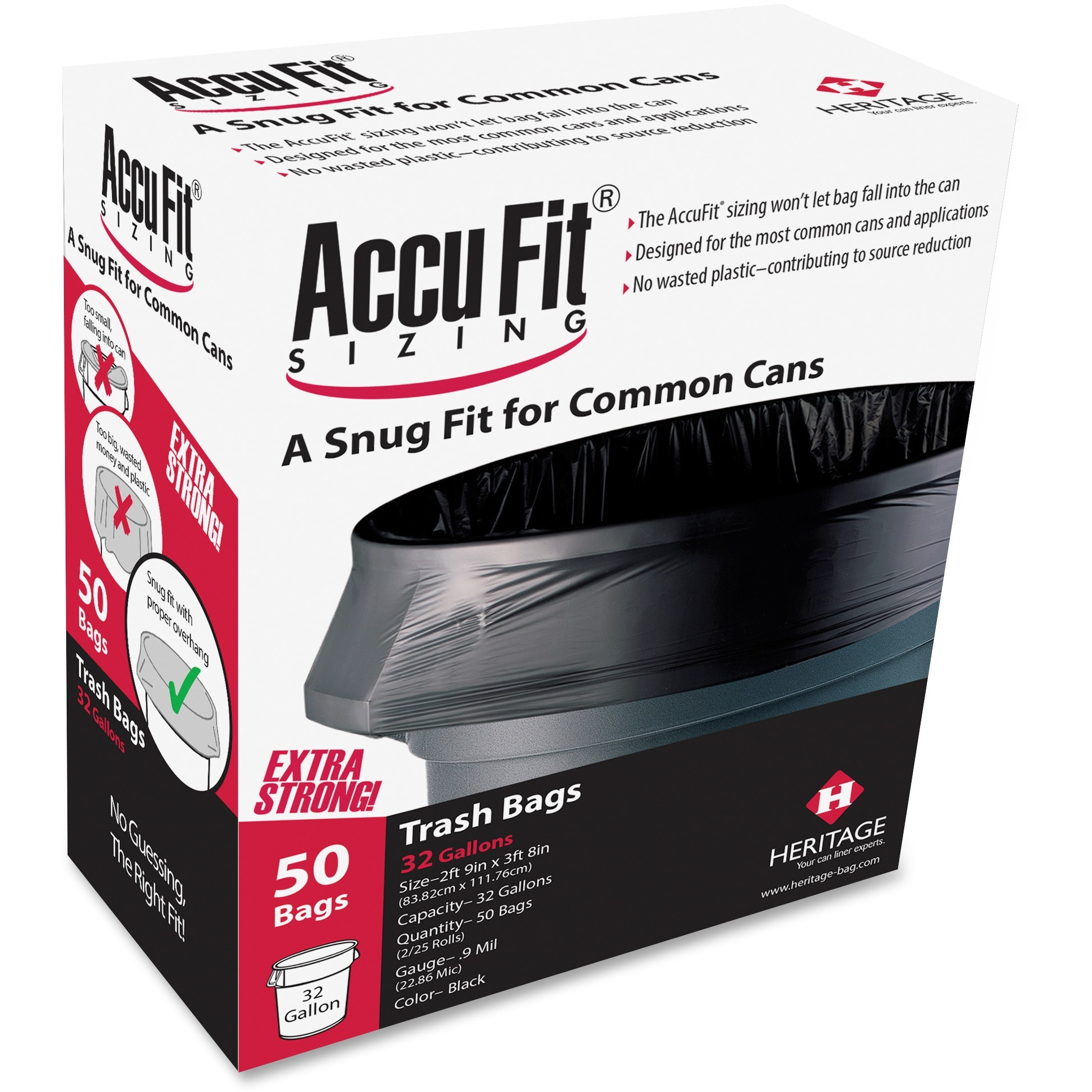 Heritage, HERH6644TKRC1, Accufit Reprime 32 Gallon Can Liners, 50 / Box, Black