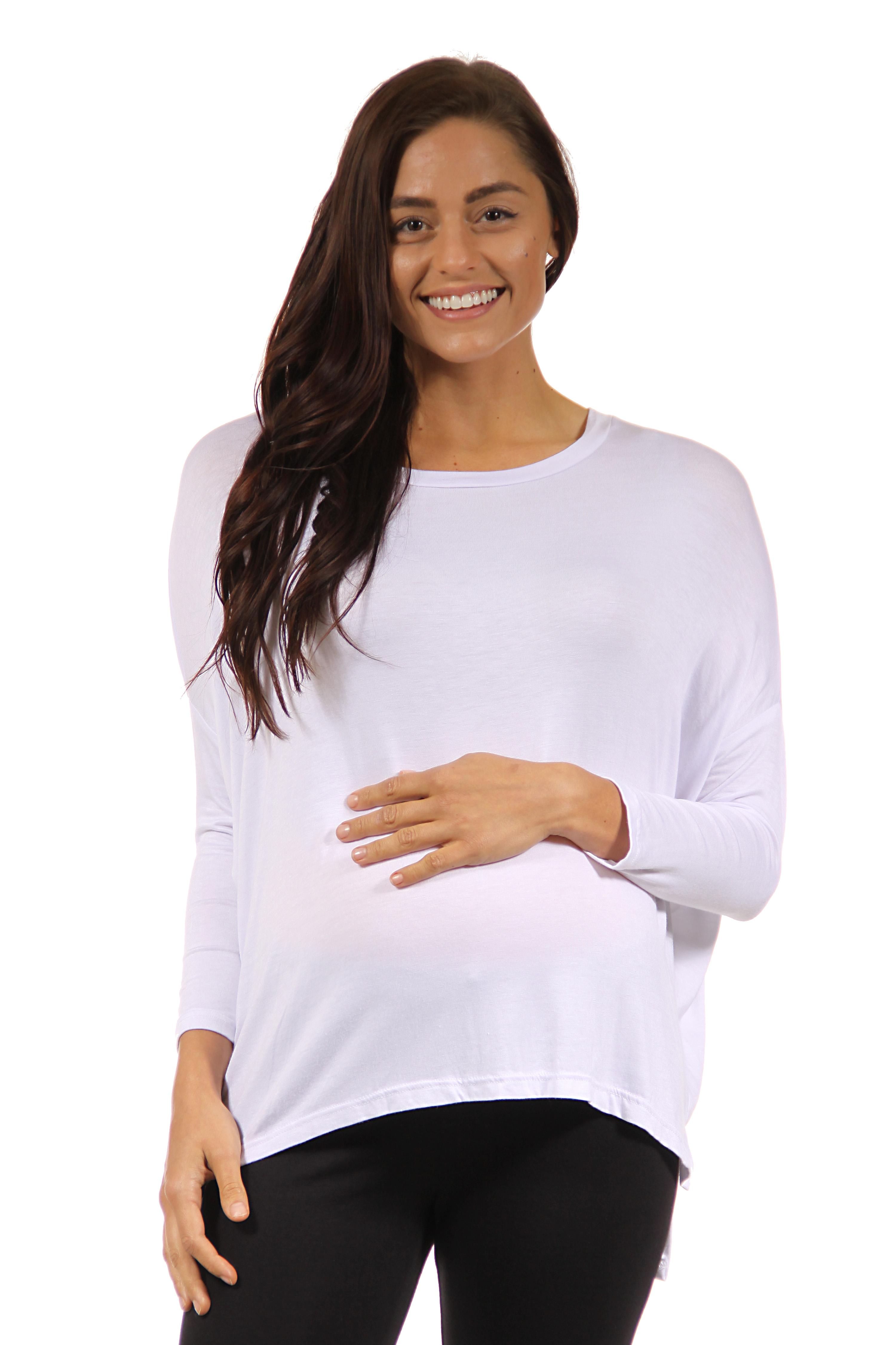 24seven Comfort Apparel Leisurely Oversized Long Sleeve Maternity Dolman Top