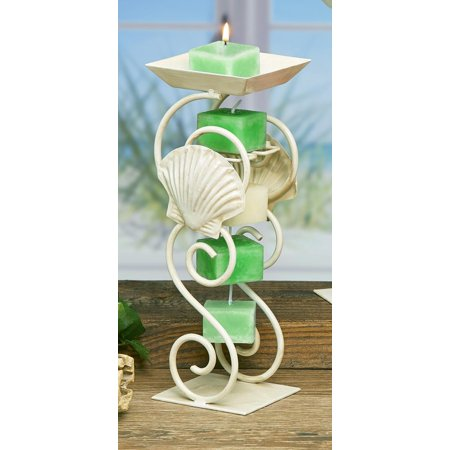 Pack of 4 White Metal Sea Shell Decorative Rope Candle Holders 12