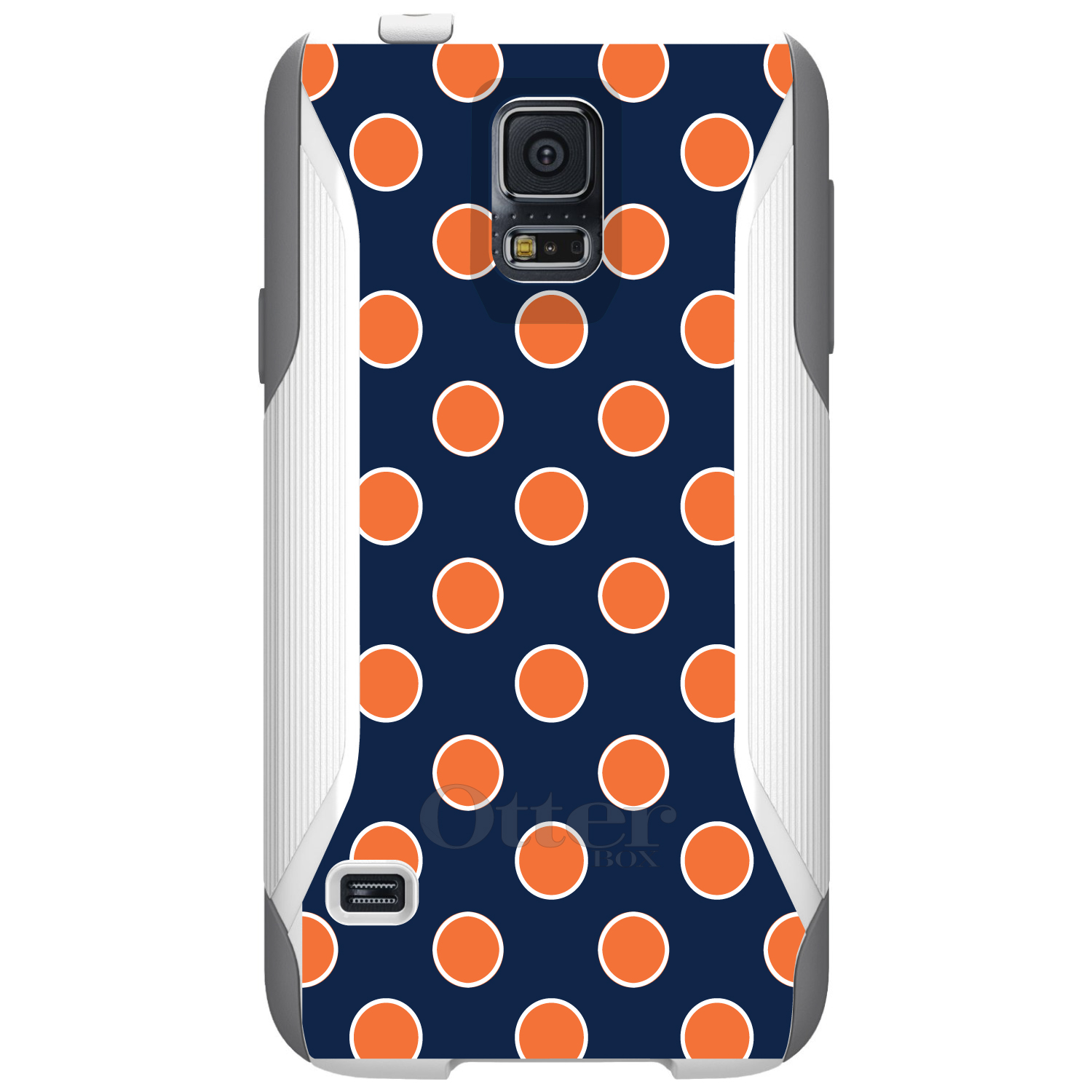 DistinctInk™ Custom White OtterBox Commuter Series Case for Samsung Galaxy S5 - Navy Orange White Polka Dots