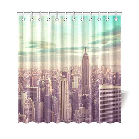 WOPOP New York City Skyline Shower Curtain Famous Landmark Polyester Fabric Bathroom Sets With Hooks 66x72 Inches