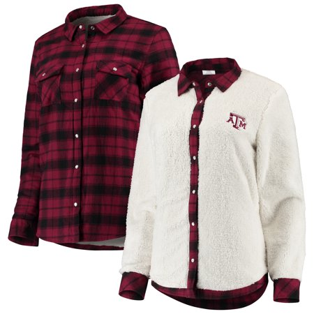 Texas A&M Aggies Women's Reversible Sherpa Flannel Long Sleeve Button-Up Shirt - Maroon/Cream