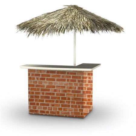 Best of Times 2001W2402P Boston Brick Palapa Portable Bar & 6 ft. Square Palapa Umbrella,