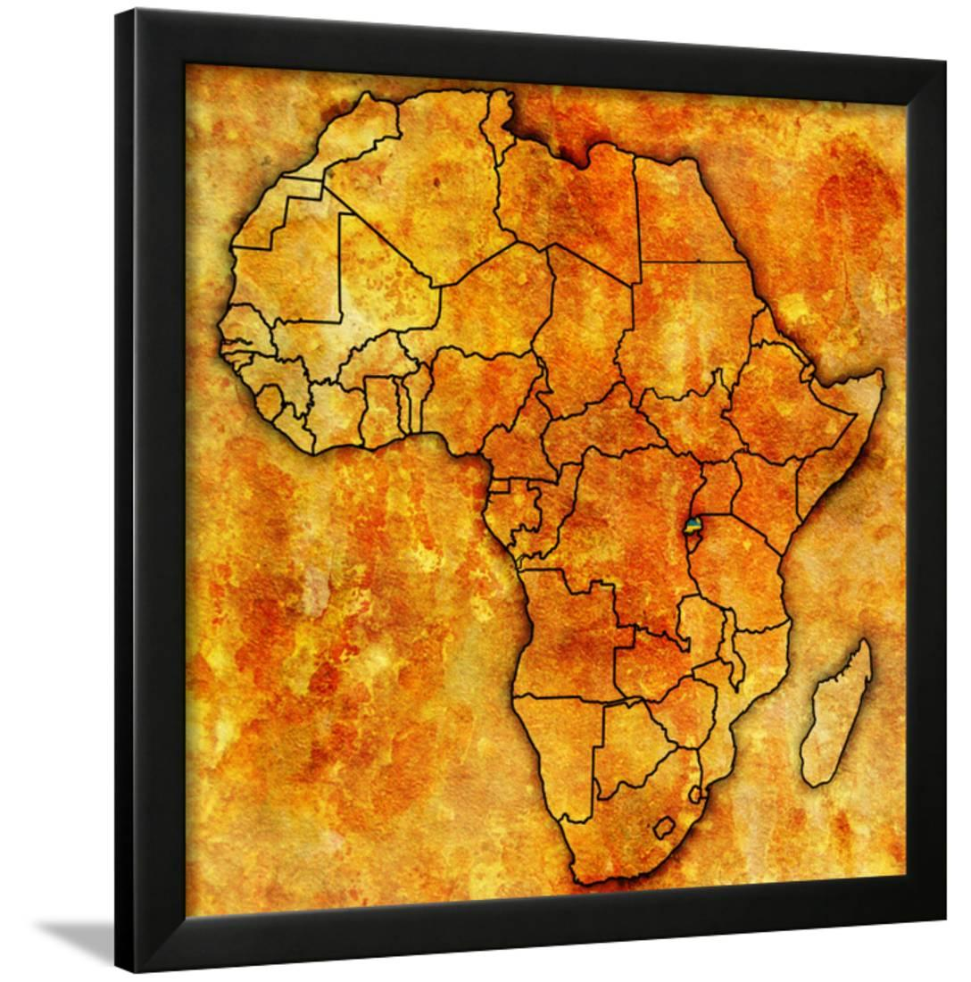 Rwanda On Actual Map Of Africa Framed Print Wall Art By Michal812