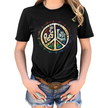 KABOER Fashion Unisex Peace Sign Print Tee Retro Love Hippie T Shirt Summer Short Sleeve Graphic Shirt Plus -