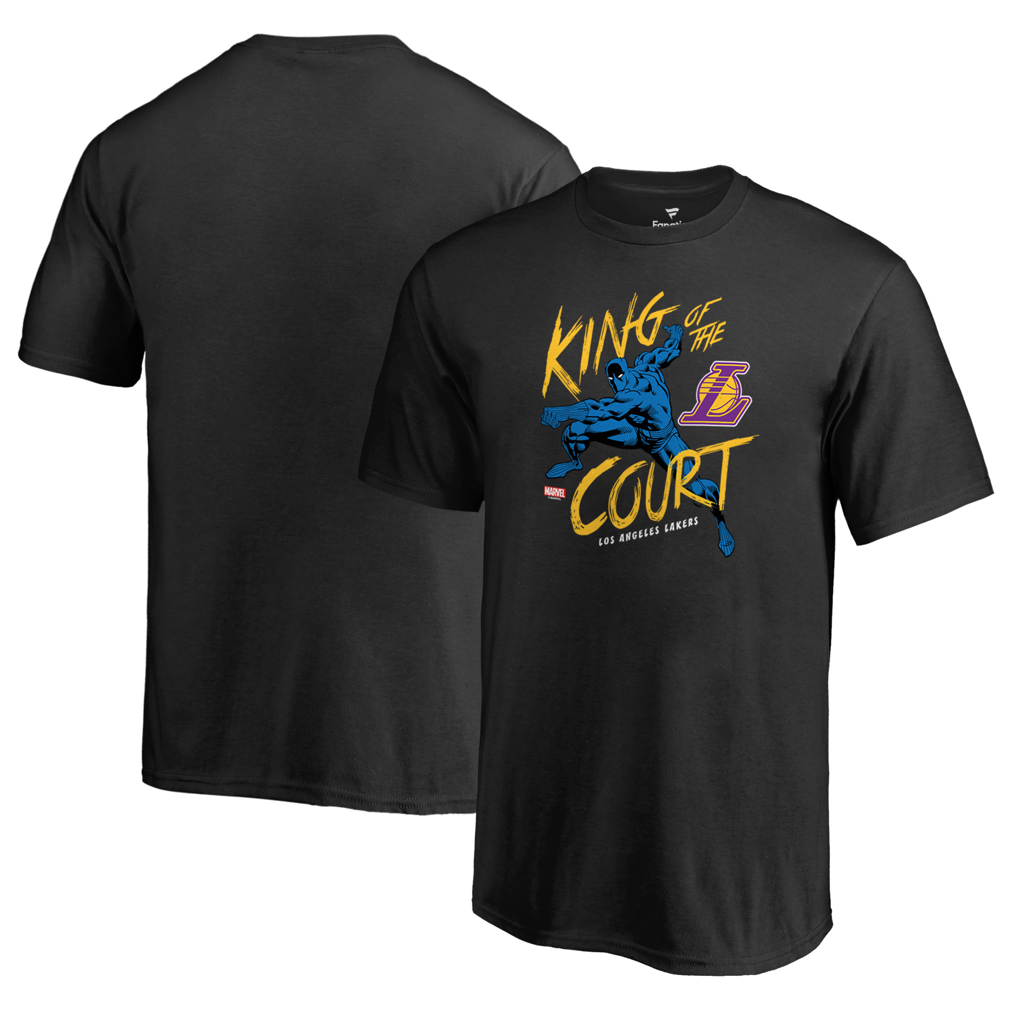 Los Angeles Lakers Fanatics Branded Youth Marvel Black Panther King of the Court T-Shirt - Black