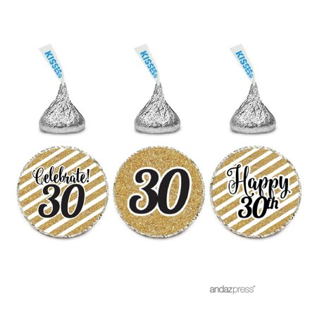 Milestone Chocolate Drop Labels Trio, Fits Hershey's Kisses Party Favors, 30th Birthday, 216-Pack, Not Real - 30th Birthday Party Favors