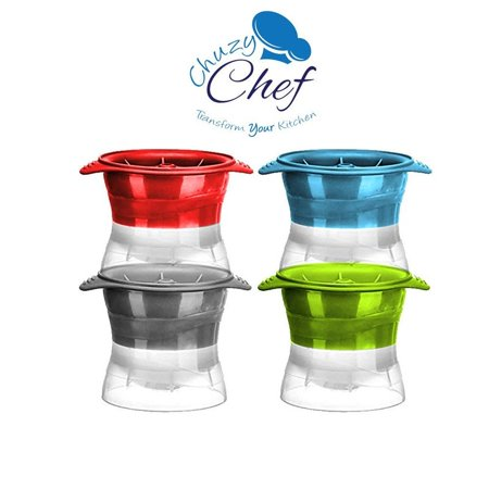 Ice Ball Maker, Sphere Mold Creates Perfect 2.5 INCH Round Ice Cube Balls -Set Of 4 by Chuzy Chef®