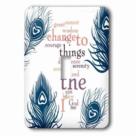 3dRose Peacock Feathers Serenity Prayer Word Art - Single Toggle Switch