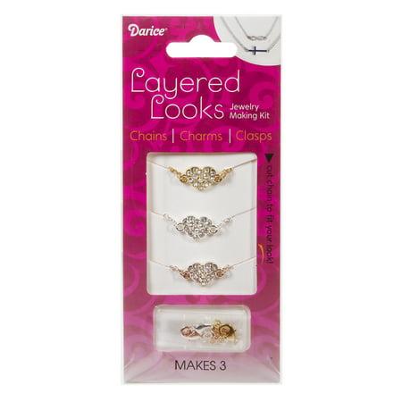 Layered Looks Necklace Sets: Rhinestone Hearts Layering Necklaces Kit - Rhinestone Kit