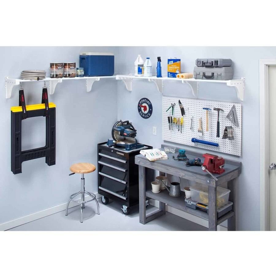 EZ Shelf Expandable Garage Shelves up to 12.5' of Storage Space, White, 2pk
