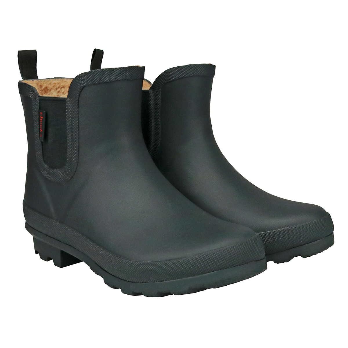 Chooka Chooka Women S Short Rain Boots Waterproof Ladies Anti Slip Rubber Black Ankle Plush Chelsea Booties 6 Walmart Com Walmart Com