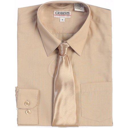 Gioberti Little Boys Khaki Solid Color Shirt Tie Formal 2 Piece Set