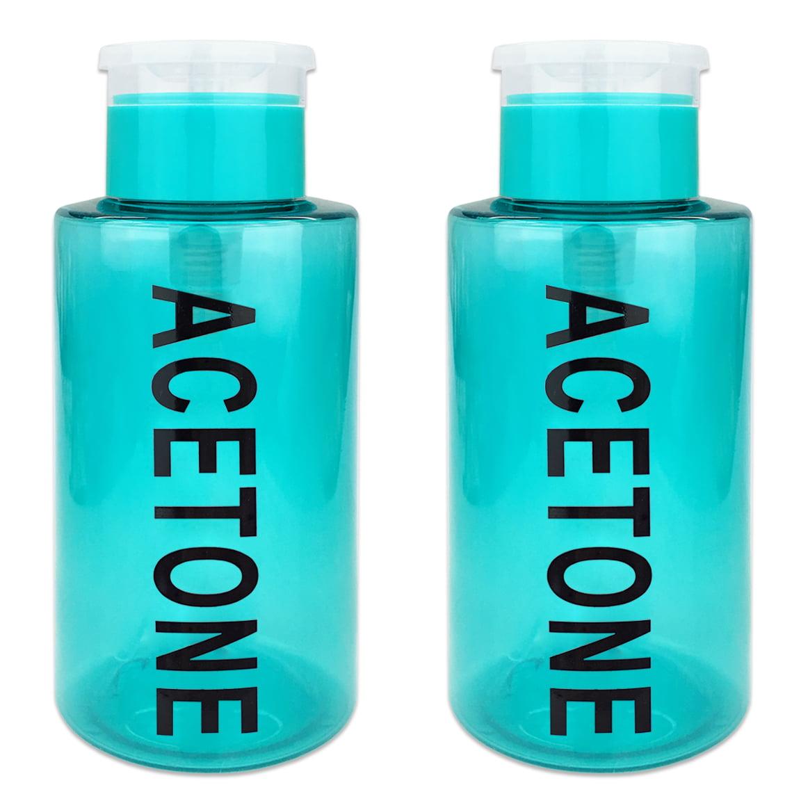 Pana High Quality 10oz Liquid Pump Dispenser With Acetone Label - Clear (2 Bottles)