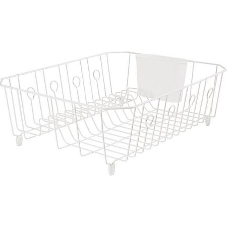 Rubbermaid 6032ARWHT Large Wire Dish Drainer, 17.62 in L x 13.81 in W x 5.93 in H, Brass, White