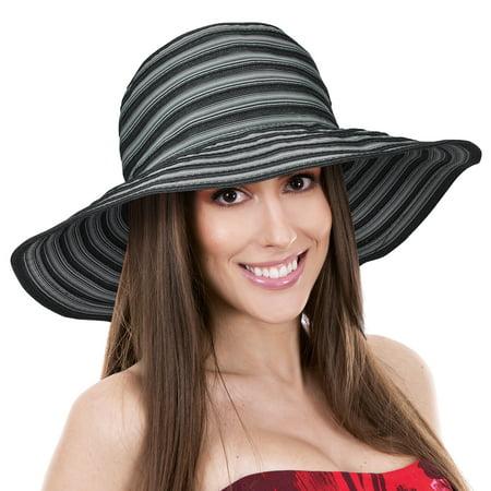 Solaris - Women Floppy Sun Hats w  Wide Brim Summer Beach UV Protection  Foldable Gardening Hiking Cap - Walmart.com daaa5b93864