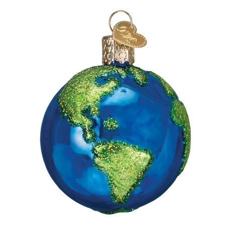 Old World Christmas Planet Earth Glass Tree Ornament 22038 FREE BOX Space (Earth Ornament)