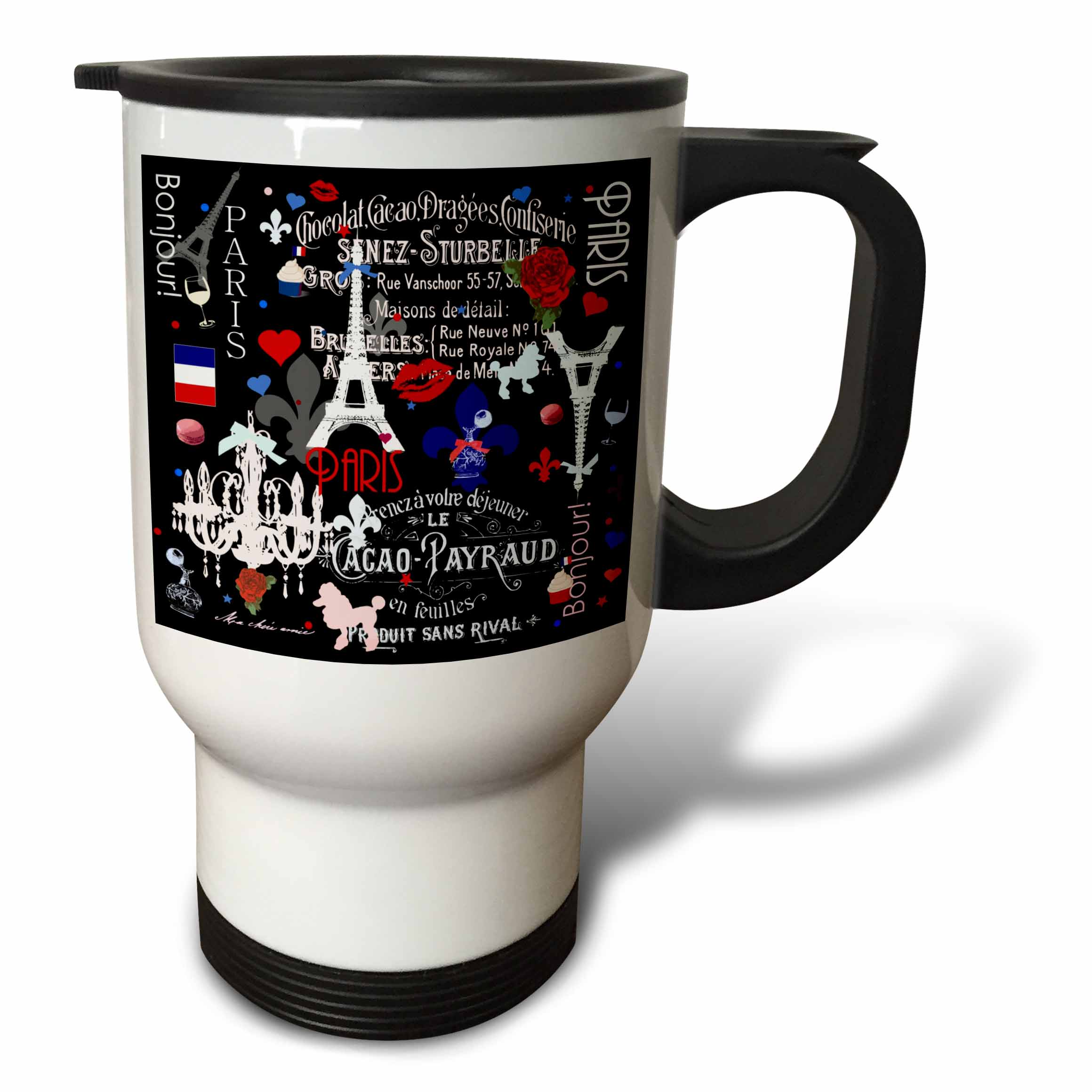 3dRose Girly Paris pattern - stylish black - romantic French - Classy France - trendy hip fashionable cute, Travel Mug, 14oz, Stainless Steel