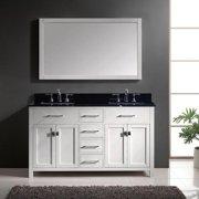 VIRTU USA  Caroline 60-inch Double Bathroom Vanity Cabinet Set in White