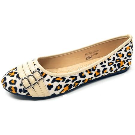 Women Ballet Flats, Animal Prints /w Tripple Buckle Decor, Classic Ballerina Slip-On Slipper Shoes Ballet Classic Flats