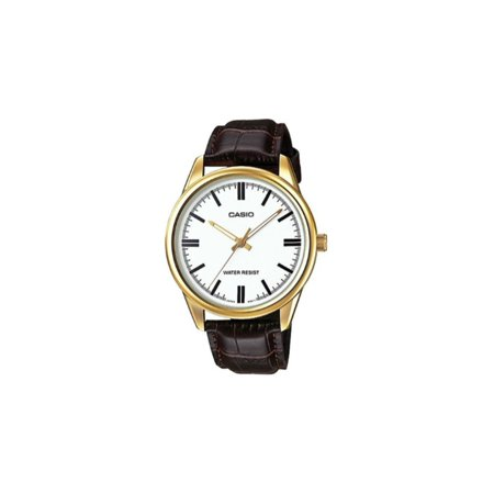 Men's Quartz Gold Tone Stainless Steel Brown Leather Watch