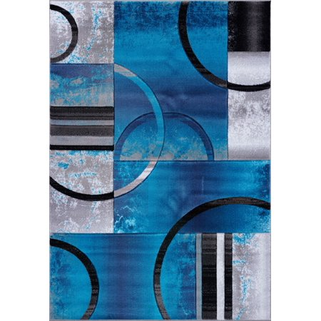 Ladole Rugs Adonis Collection Geometric Turquoise Balck and Grey Polypropylene Area Rug Carpet, 4x6 (3'11