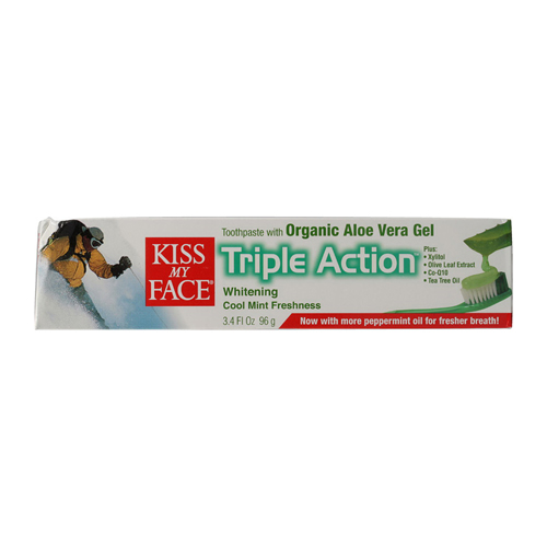 Kiss My Face Aloe Vera Triple Action Toothpaste Gel, Cool Mint Freshness - 3.4 Oz