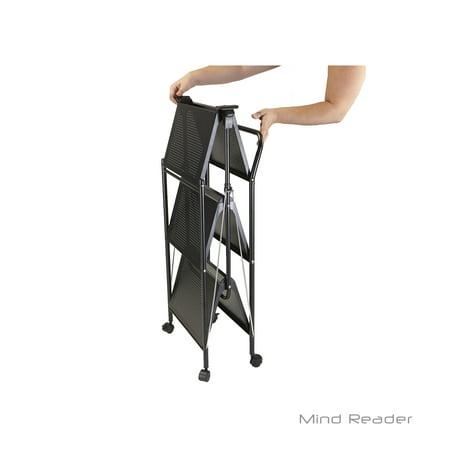 Purpose Utility Cart - Mind Reader 3 tier Metal Shelf Fold-able All Purpose Utility Cart, Black