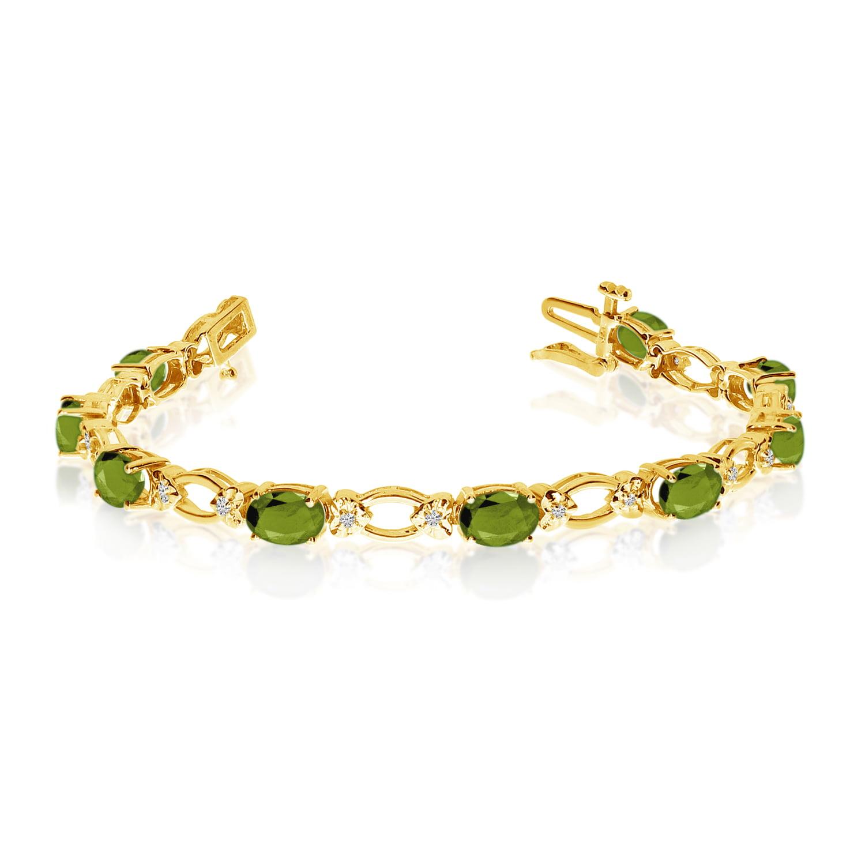 14k Yellow Gold Natural Peridot And Diamond Tennis Bracelet by LCD