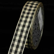 """Black and Ivory Gingham Wired Woven Edge Ribbon 1"""" x 27 Yards"""