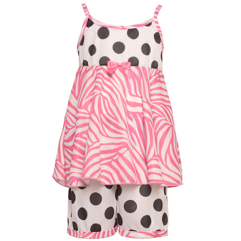 Laura Dare Little Girls Black White Polka Dot Zebra Print 2 Pc Pajama Set 2T-6X