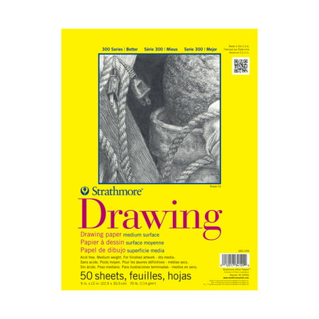 Strathmore Drawing Paper Pad, 300 Series, 50 Sheets, 9
