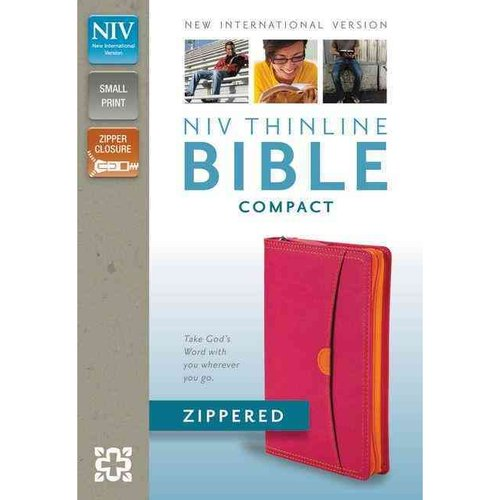 Holy Bible: New International Version, Hot Pink / Tangerine, Italian Duo-Tone, Thinline, Zippered