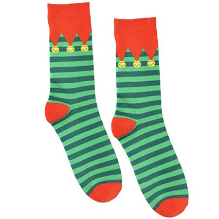 Fun-Filled Christmas and Holiday Party Elf Crew Socks , Red/Green, Fabric , 13 1/2