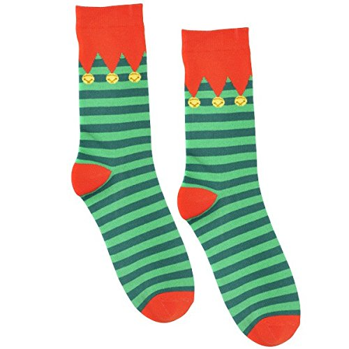"Fun-Filled Christmas and Holiday Party Elf Crew Socks , Red/Green, Fabric , 13 1/2"", Pack of 2"