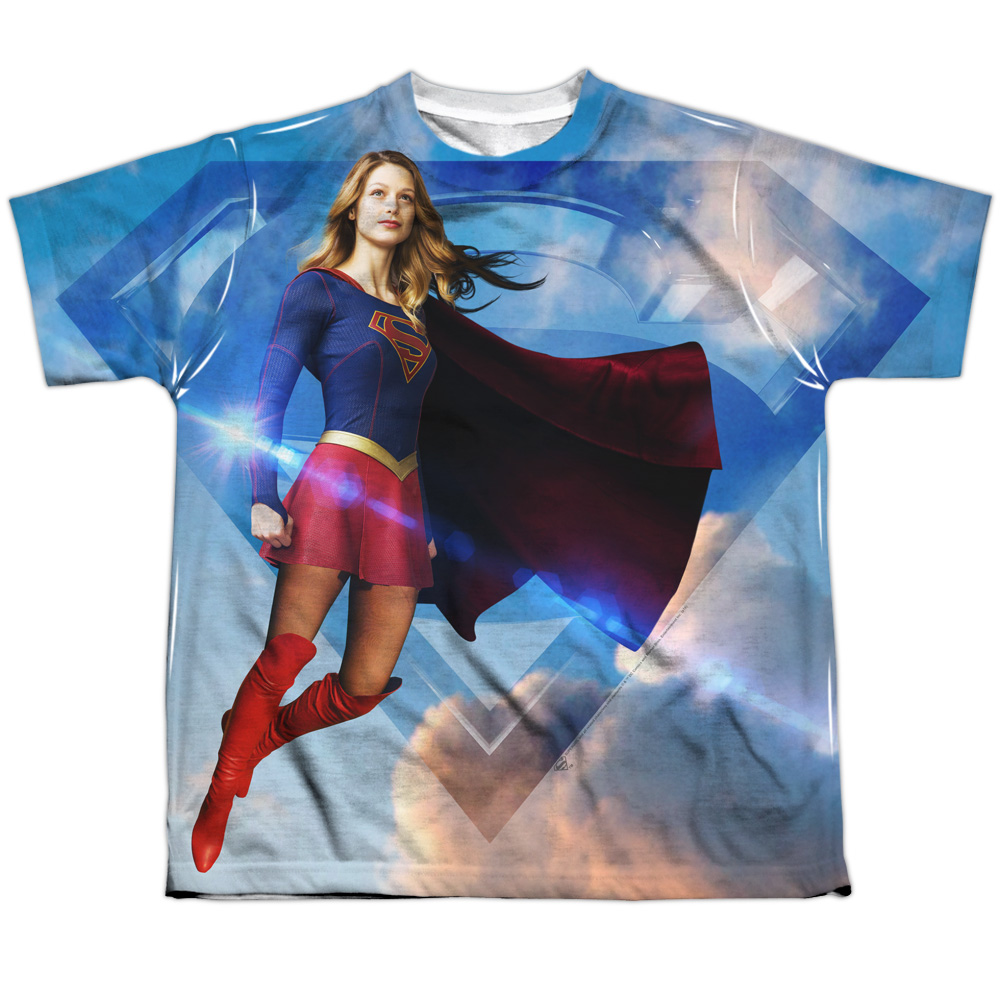 Supergirl Up In The Sky Big Boys Sublimation Shirt White Sm