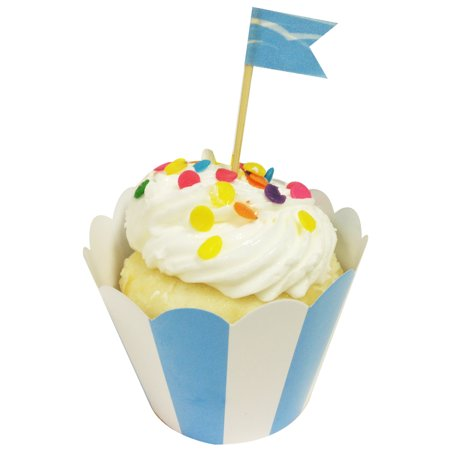 Wrapables® Standard Size Striped Cupcake Wrappers (Set of 60), Blue (Pink Bandana Cupcake Liners)