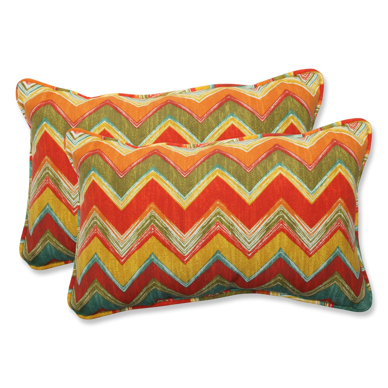 Set of 2 Desert Flavor Multi Chevron Rectangular Outdoor Corded Throw Pillows