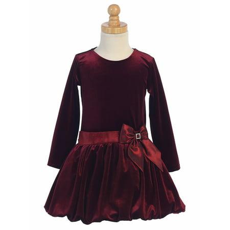 Red Velvet Rhinestone (Made in the USA - Burgundy Velvet Bubble Holiday / Christmas Girls' Dress w/ Glitter Trim &)