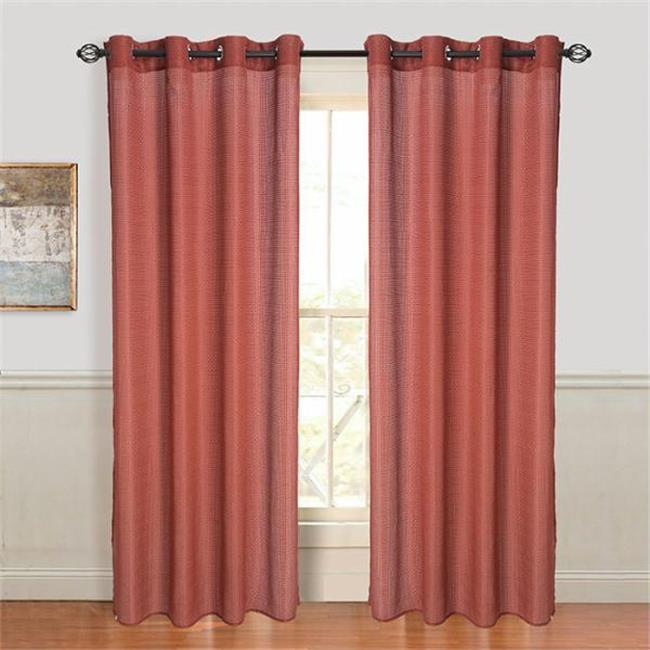Set of 2 Lavish Home Olivia Jacquard Grommet Curtain Panel - Red