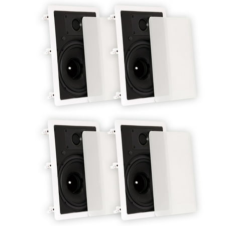 Theater Solutions TS80W In Wall 8″ Speakers Surround Sound Home Theater 2 Pair Pack