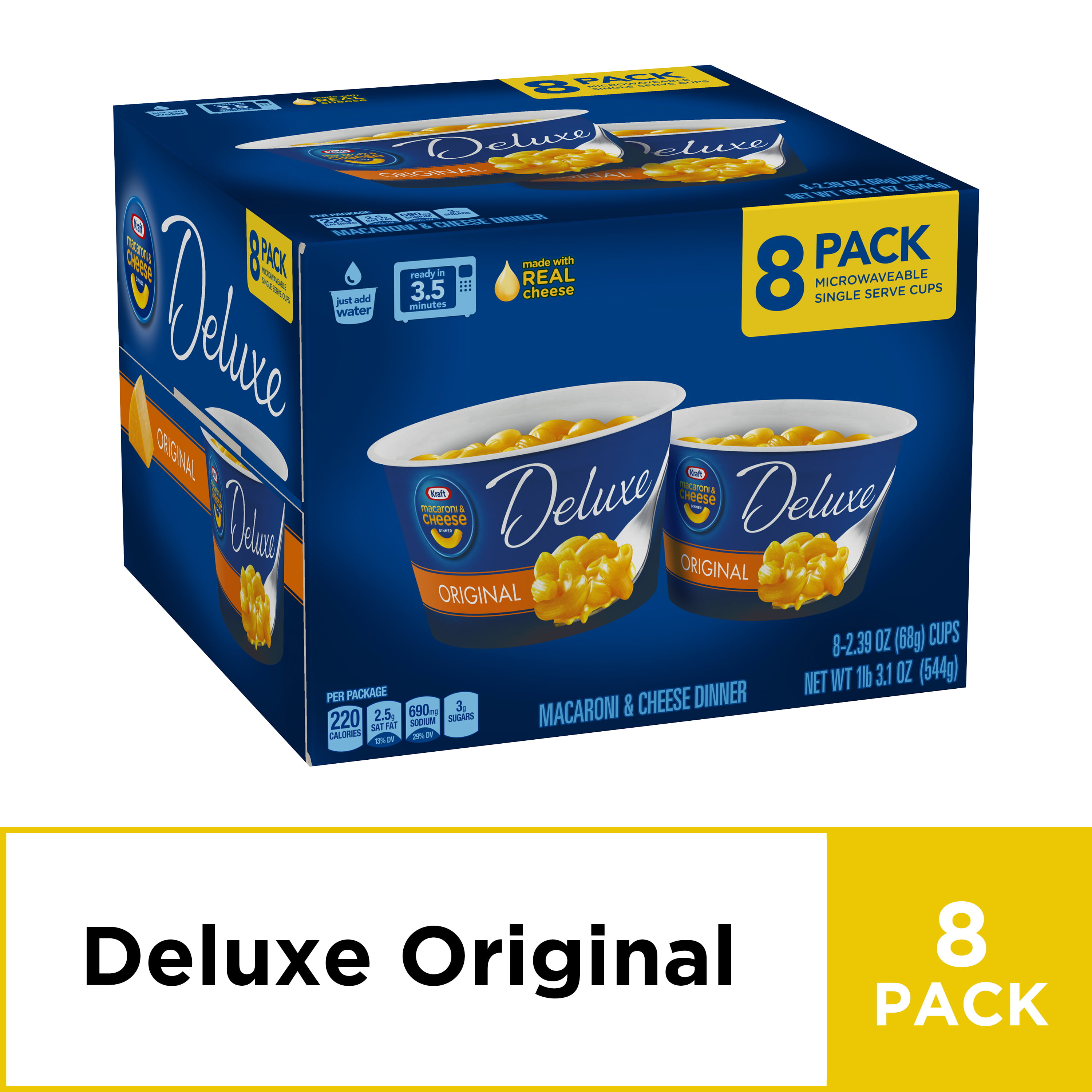 Kraft Deluxe Easy Mac Microwavable Macaroni And Cheese Cups 8 Count Box