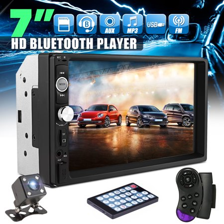7'' 2 Double Din HD Touch Screen Car MP5 MP3 Player bluetooth In Dash Car  Stereo Radio Aux TF/USB FM Aux+HD Rearview Camera+Remote Control | Walmart