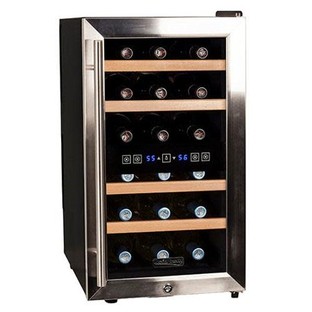 "Koldfront TWR187E Stainless Steel 14"" Wide 18 Bottle Wine Cooler with Dual Cooling Zones"