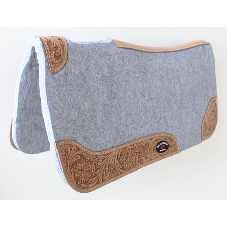 Horse SADDLE PAD Western Contoured Wool Felt Moisture Wicking 39RT