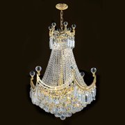 "Worldwide Lighting W83026c20 Empire 9 Light 1 Tier 20"" Chrome Chandelier - Chrome"