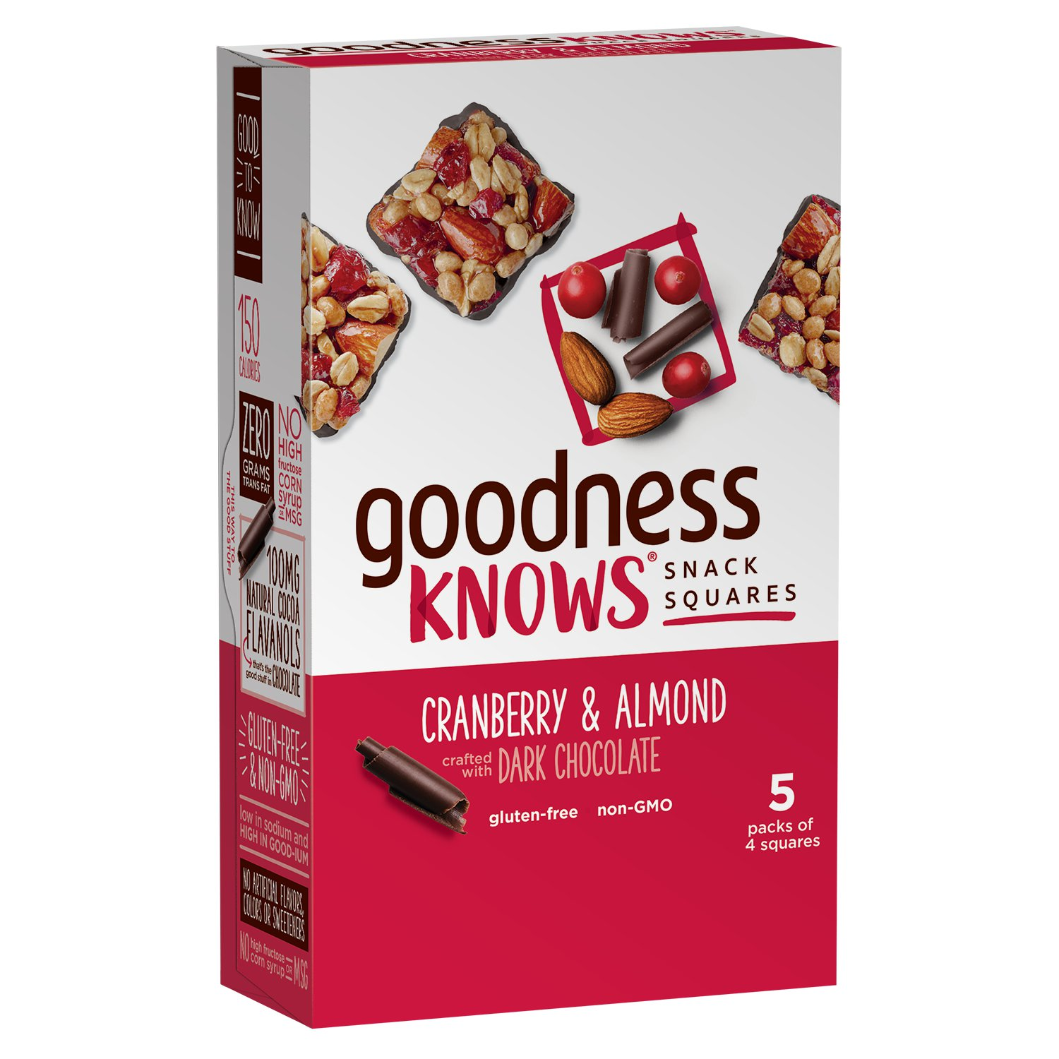 goodnessKNOWS Gluten Free Snack Square Bars Cranberry Almond & Dark Chocolate Box, 5 Pack