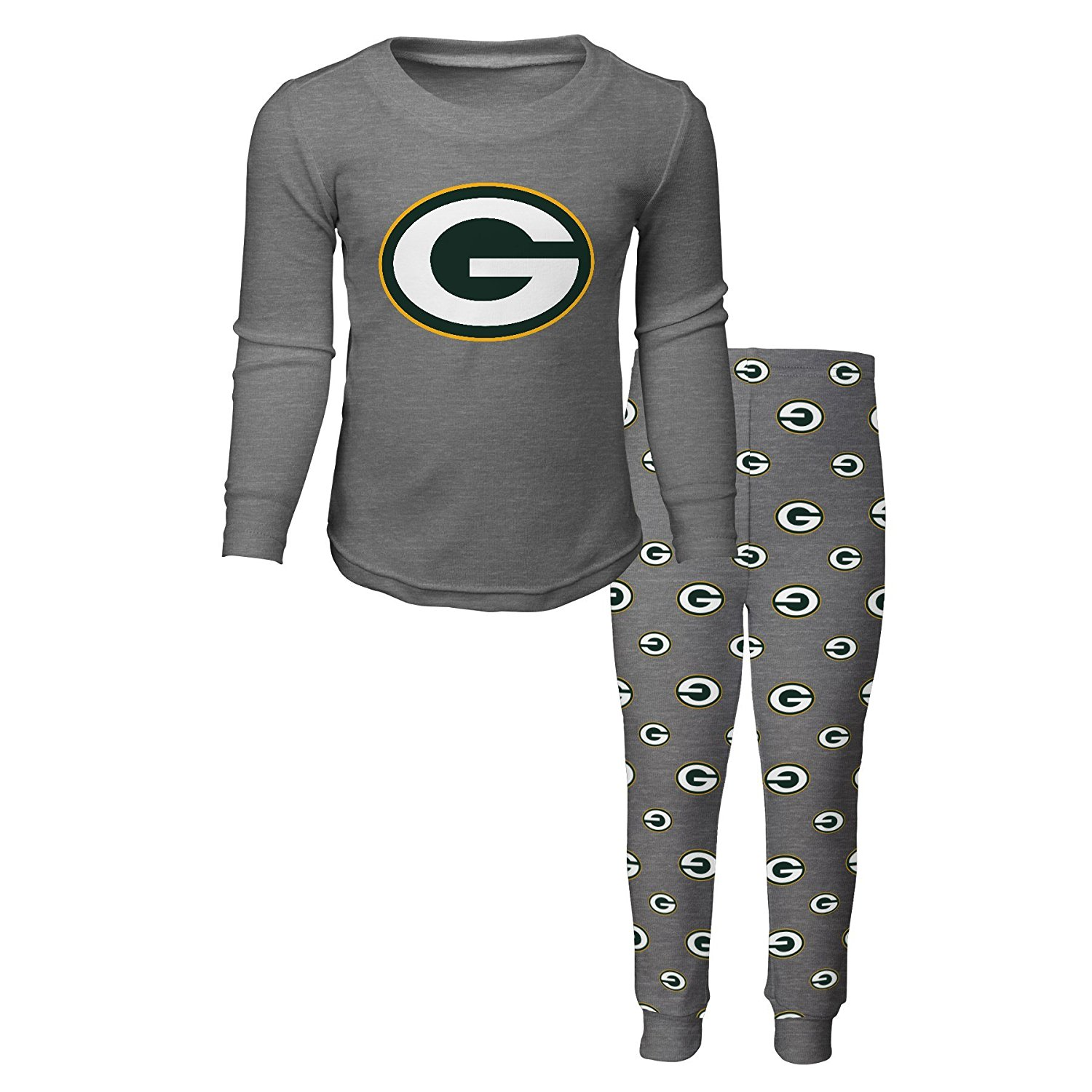 Green Bay Packers Big Boys Long Sleeve Tee And Pant Sleep Set, Small (4) by Genuine Outerstuff